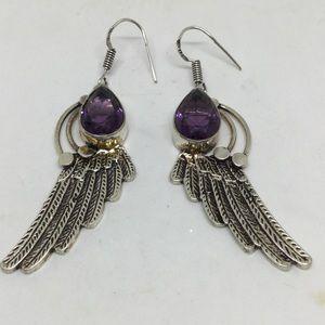 Amethyst Angel Wing Silver Earrings